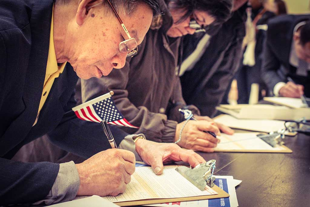 Closeup of man registering to vote