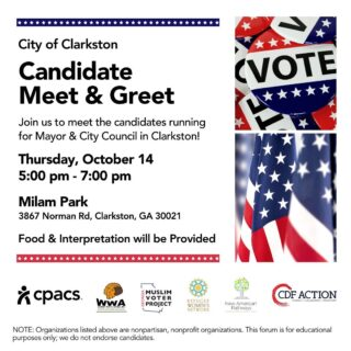 Join us tomorrow evening at Milam Park for a multilingual Clarkston Candidate Forum and have your voice heard by Clarkston candidates! Swipe for translations or visit the link in our bio for all translations and information. . . . . #vote #election #newamericans