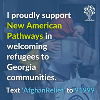 Please share — New AP is proud to welcome Afghan refugees, SIVs, and humanitarian parolees to Georgia communities in the coming weeks and we need your help! Please join us by texting 'AfghanRelief' to 91999 and sharing the social media graphics in our toolkit.  * Link in Bio *