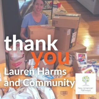 """A huge thank you goes out to Lauren Harms for rallying her community to donate 4,800 pairs of underwear and 3,100 pairs of socks.  Lauren shared, """"It felt so good to have a way to help and serve our newest neighbors with a basic necessity like new underwear and socks. I'm humbled by the outpouring of support I got with just one social media post. People are so eager for ways to help."""" You are making such a big impact for refugee families! Thank you, Lauren."""